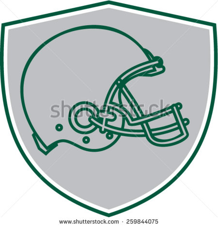 450x468 Line Drawing Illustration Of An American Football Helmet Viewed