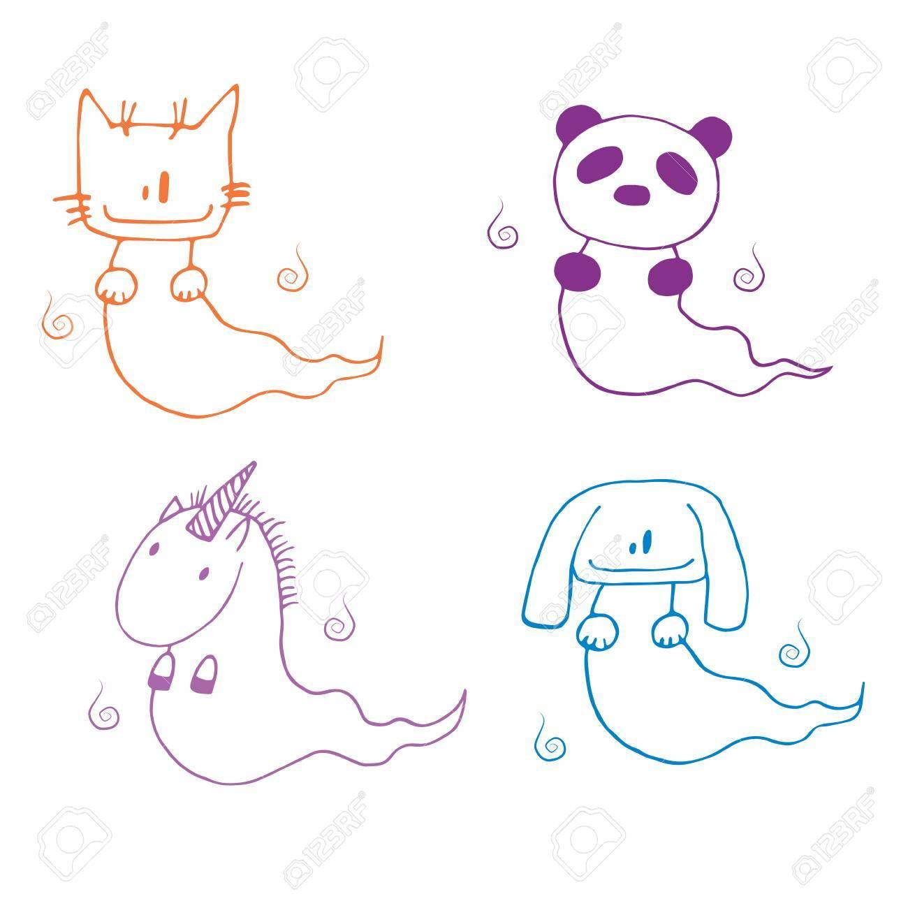 1300x1300 Hand Drawn Illustration Of Cartoon Ghost Animals Cat, Panda