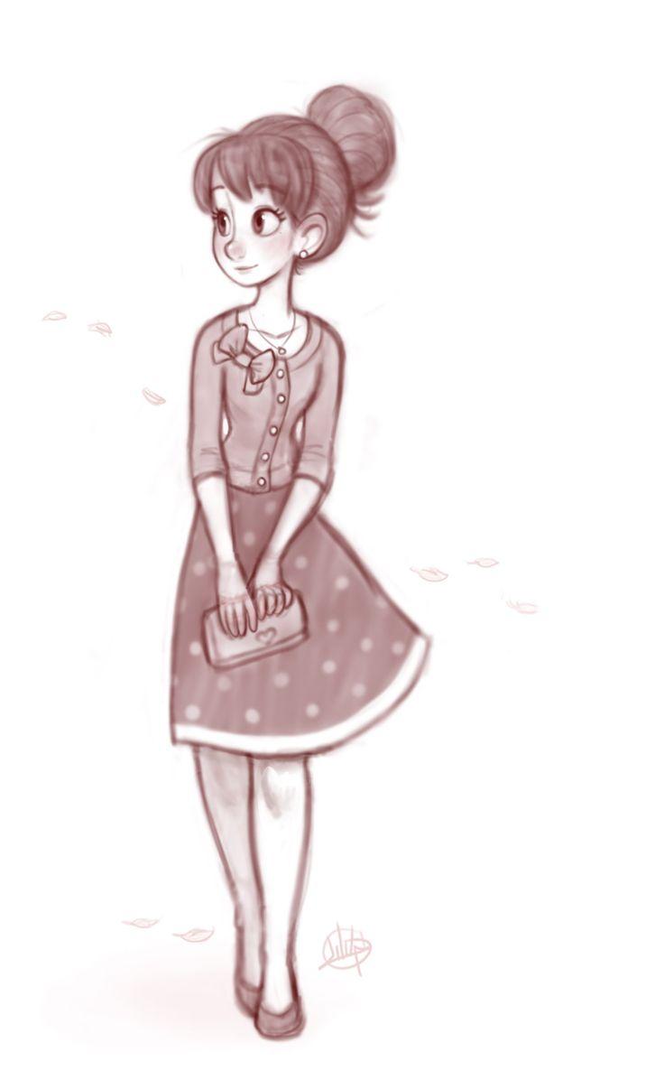 736x1196 Gallery Cute Cartoon Girl Sketch,