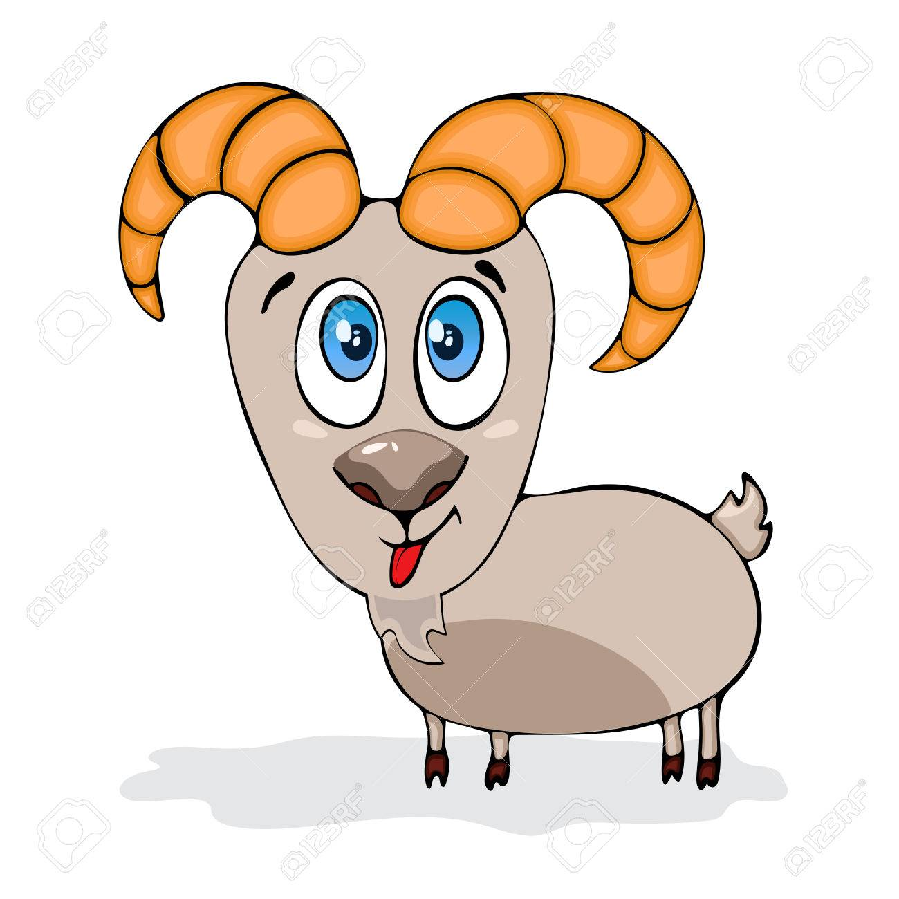 1300x1300 Cartoon Funny Goat, Painted Character, Isolated On White