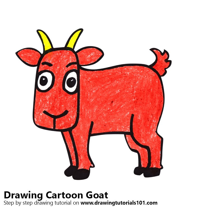800x800 Learn How To Draw A Cartoon Goat (Cartoon Animals) Step By Step