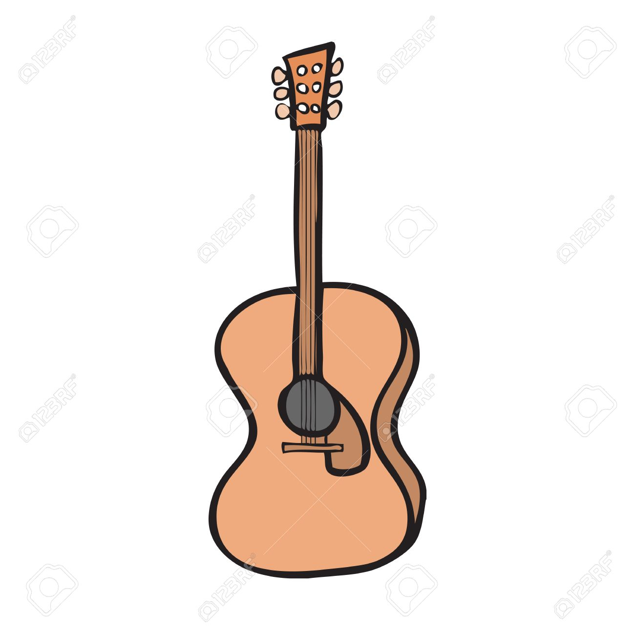 1300x1300 Character Cartoon Drawing Acoustic Guitar Royalty Free Cliparts