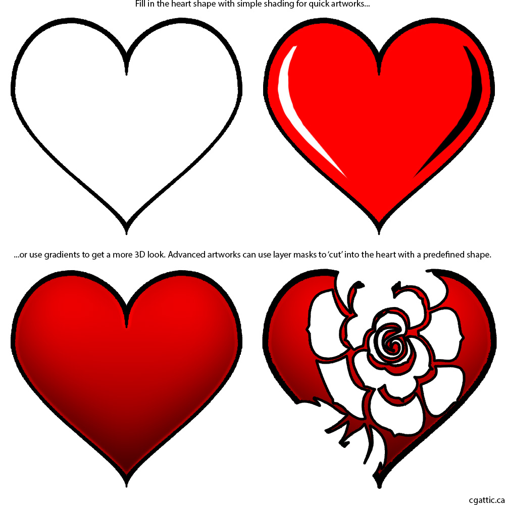 1000x1000 Heart Cartoon Drawing In 4 Steps With Photoshop