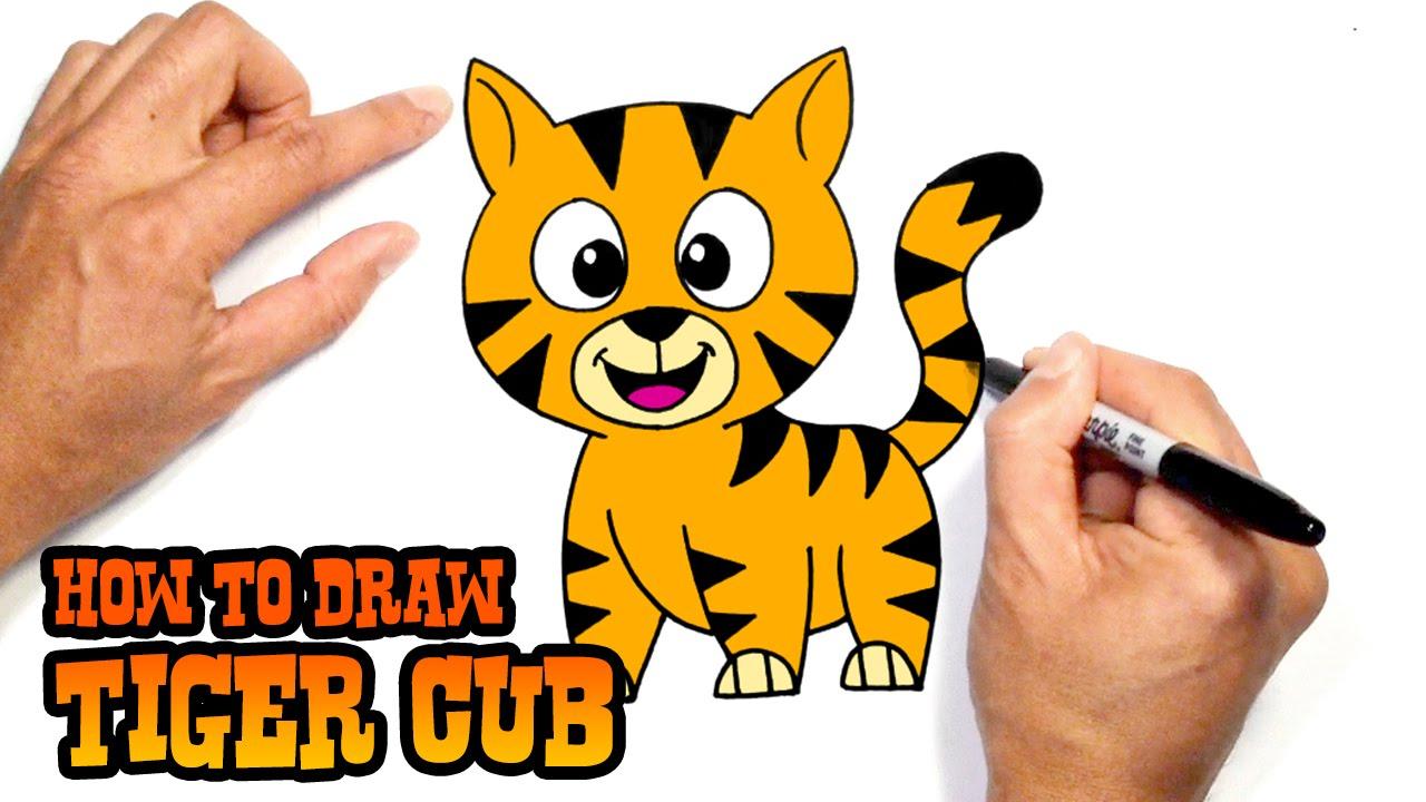 1280x720 Kids Tigers Drawing Cartoon How Draw Cartoon Tiger How