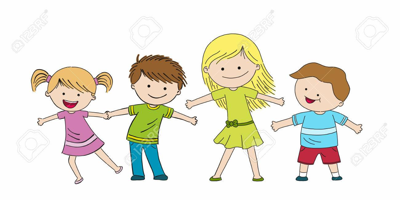 1300x650 Four Funny Kids, Hand Draw Sketch Royalty Free Cliparts, Vectors