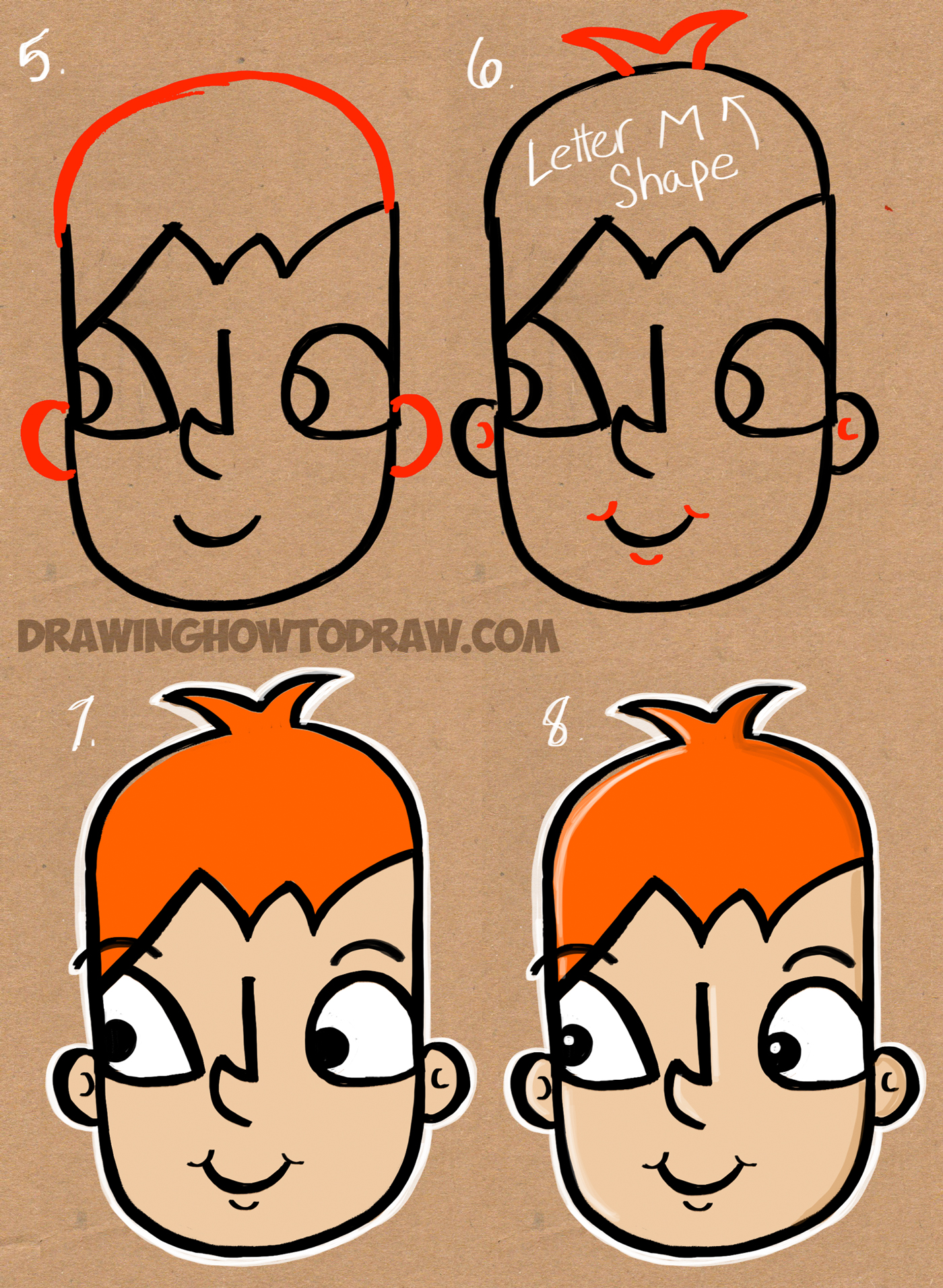 1400x1912 How To Draw A Cartoon Kid From The Word Kid