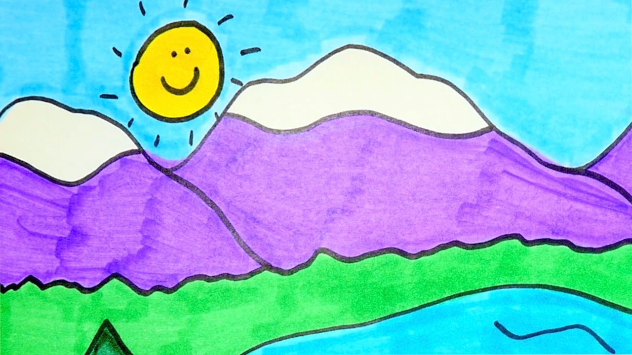 1280x720 Cartoon Landscape Drawing For Kids