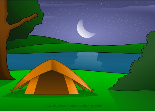 520x375 Drawing Camping Cartoons