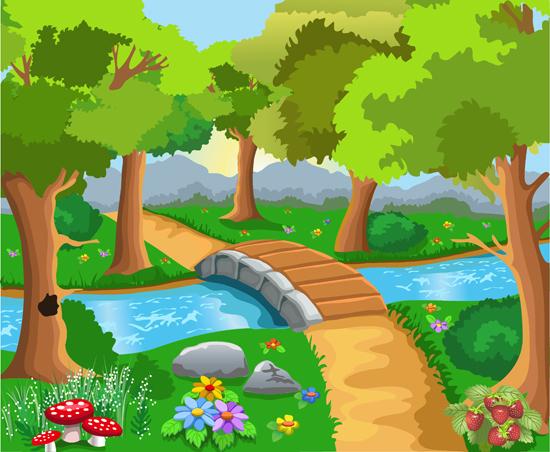 550x452 Free vector cute cartoon landscape vector