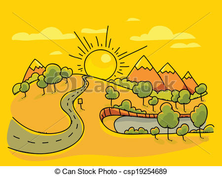 450x357 Sunrise Landscape. The Sun Rises Above A Cartoon Landscape. Vector
