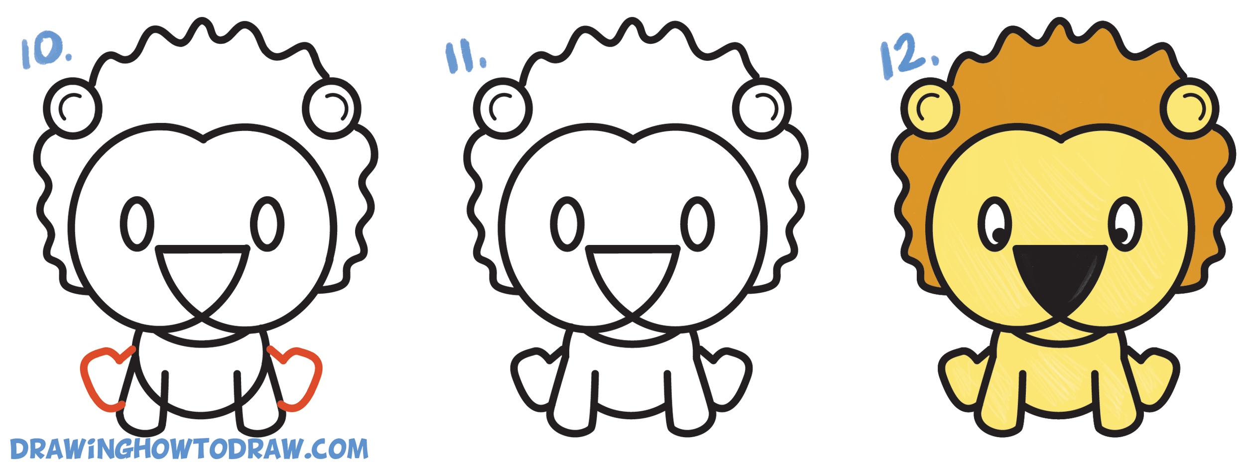 2500x940 Learn How To Draw A Cute Cartoon Lion From Letters G Amp G Easy