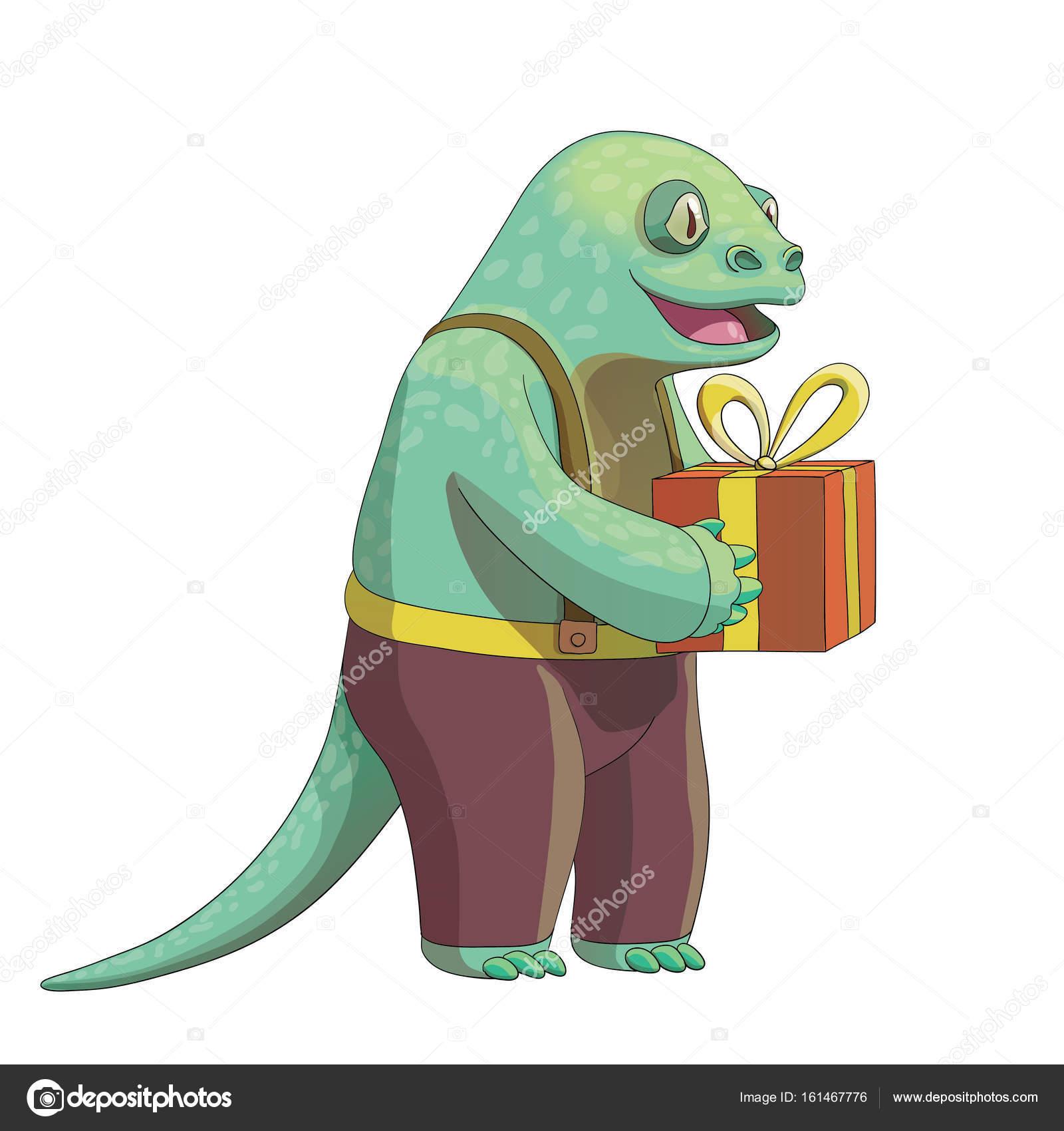 1600x1700 Cartoon Lizard Character, Vector Drawing Stock Vector