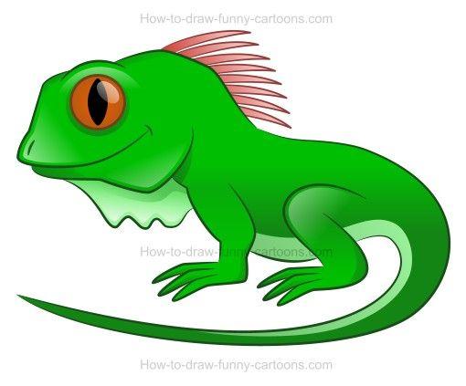 510x423 How To Draw A Cartoon Iguana Cartoon, Drawing Lessons