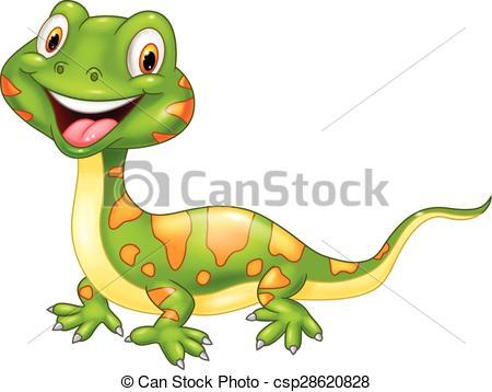 450x358 Vector Illustration Of Cartoon Cute Lizard. Vector Illustration