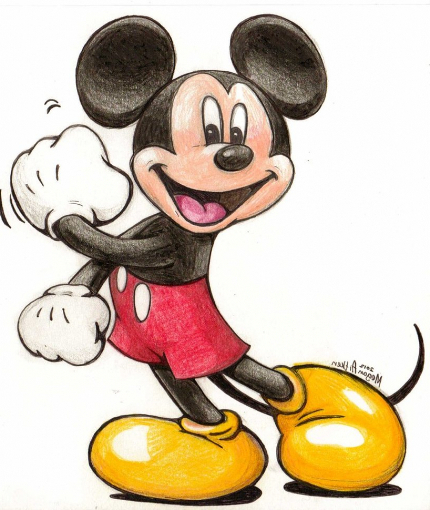 how to draw cartoon mickey mouse