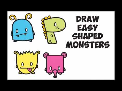 480x360 How To Draw Cute Cartoon Monsters From Letters Amp Shapes Easy Step