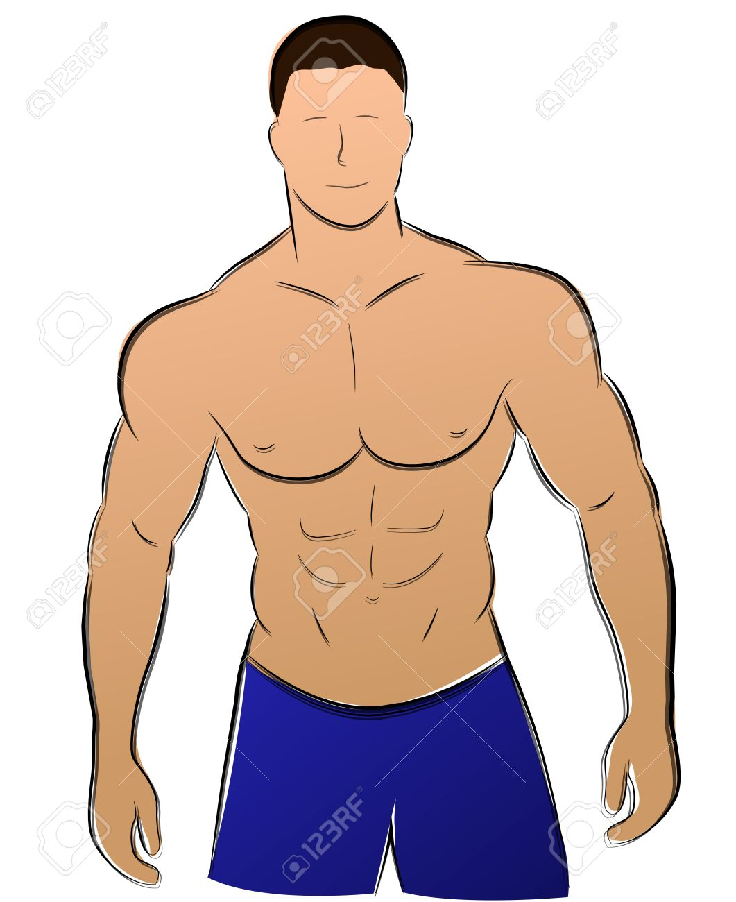 1061x1300 Illustration Of Muscle Man Drawing On White Background Royalty