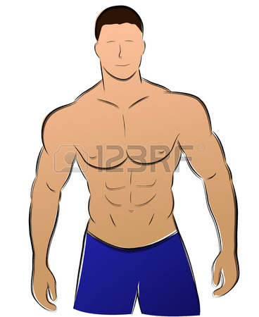 368x450 Vector Illustration Of Muscle Man Silhouette Concept Royalty Free