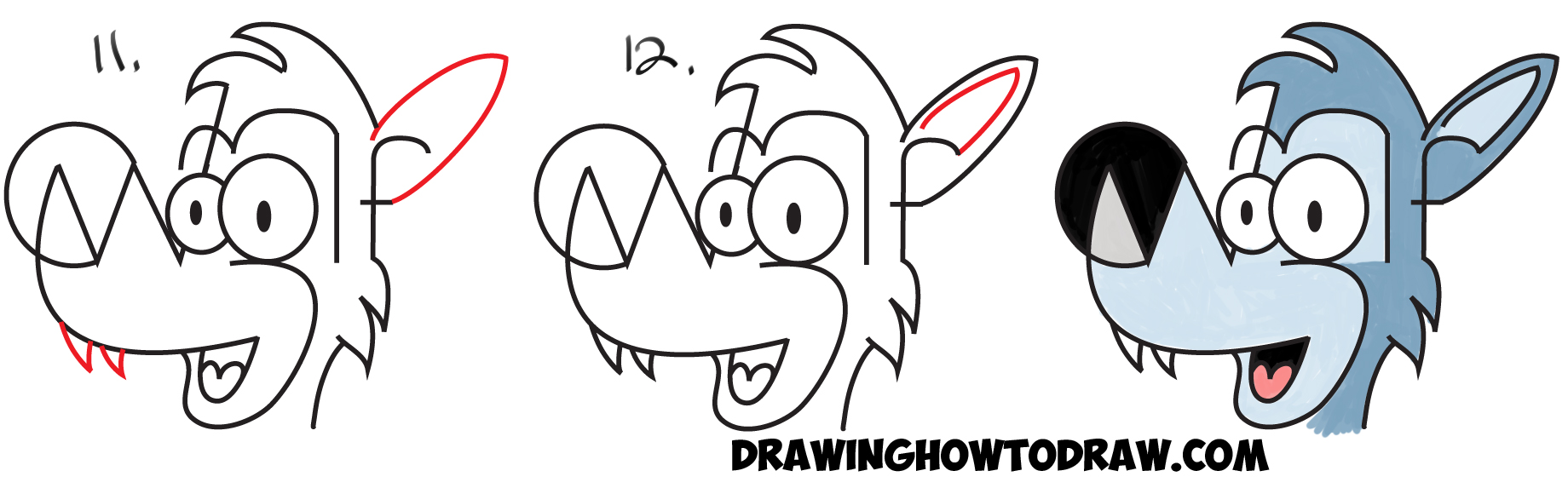 1840x573 How To Draw Cartoon Wolves From The Word Wolf Easy Steps Drawing