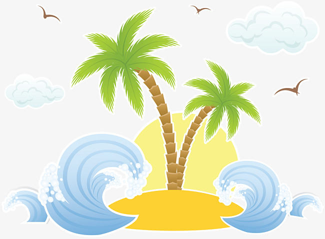 650x478 Cartoon Drawing Waves And Palm, Cartoon, Painting, Wave Png Image