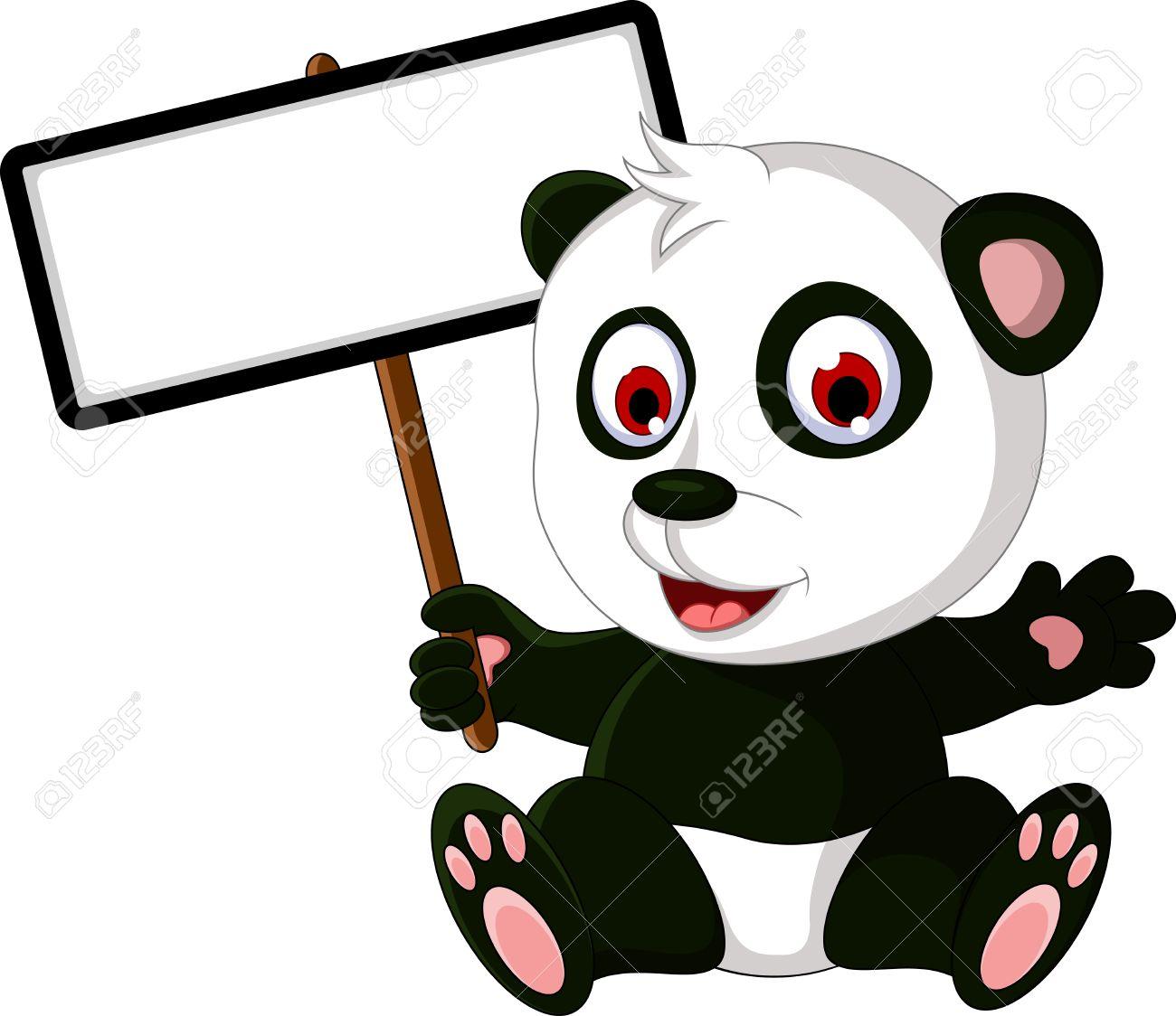 1300x1124 Cute Cartoon Panda Posing With White Board Royalty Free Cliparts