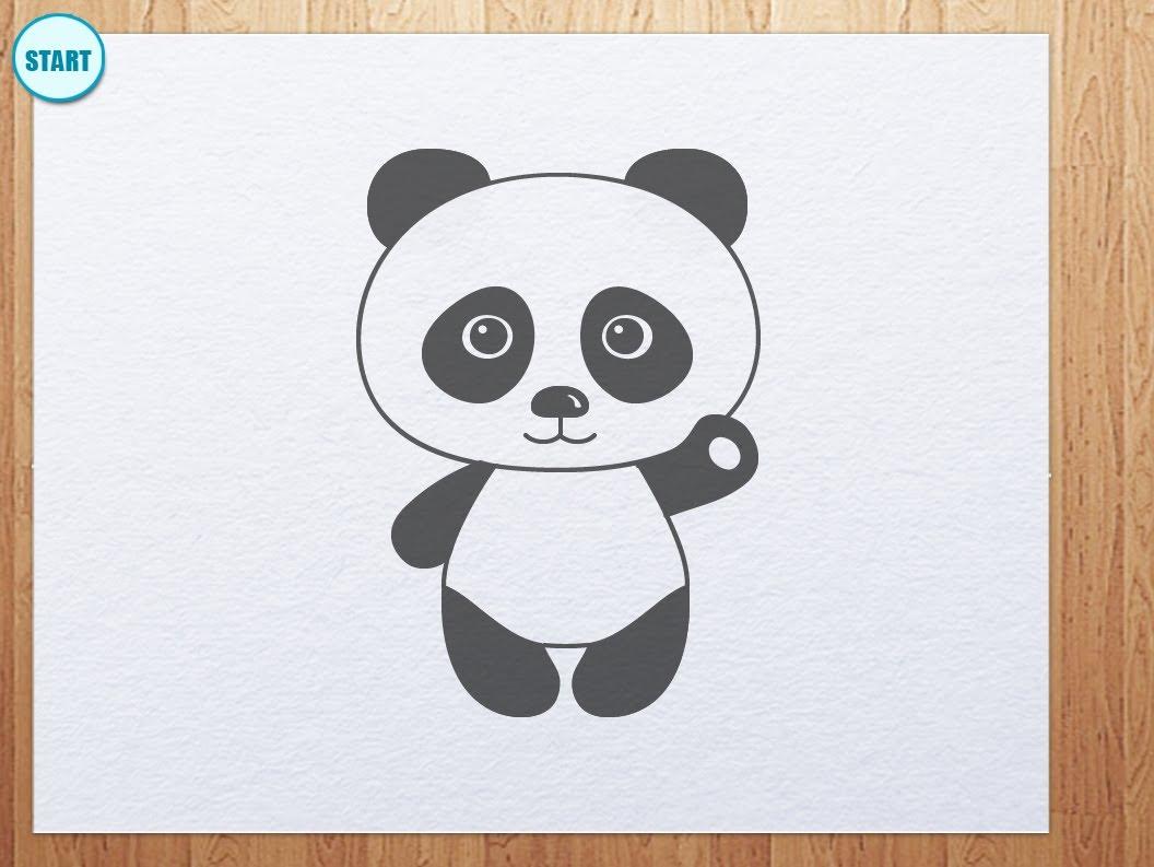1056x793 How To Draw Panda Bear (Panda Is Waving Its Hand)