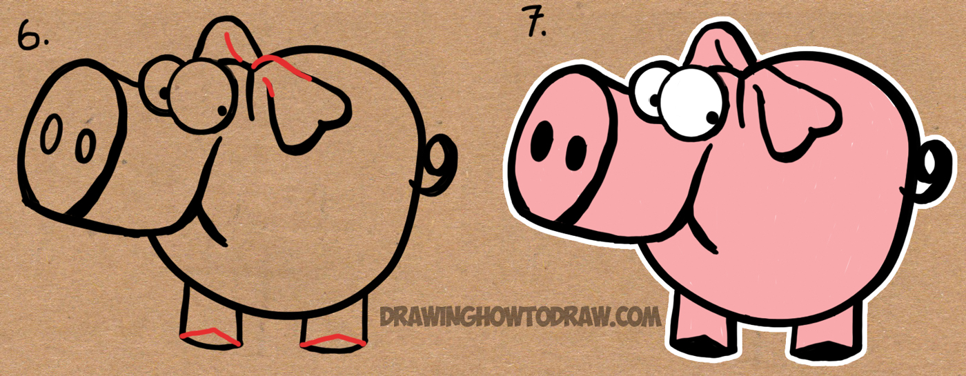 1400x545 How To Draw Cartoon Pig With The Word Pig Drawing Lesson For Kids