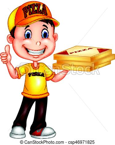 373x470 Vector Illustration Of Cartoon Pizza Delivery Man Giving Vector