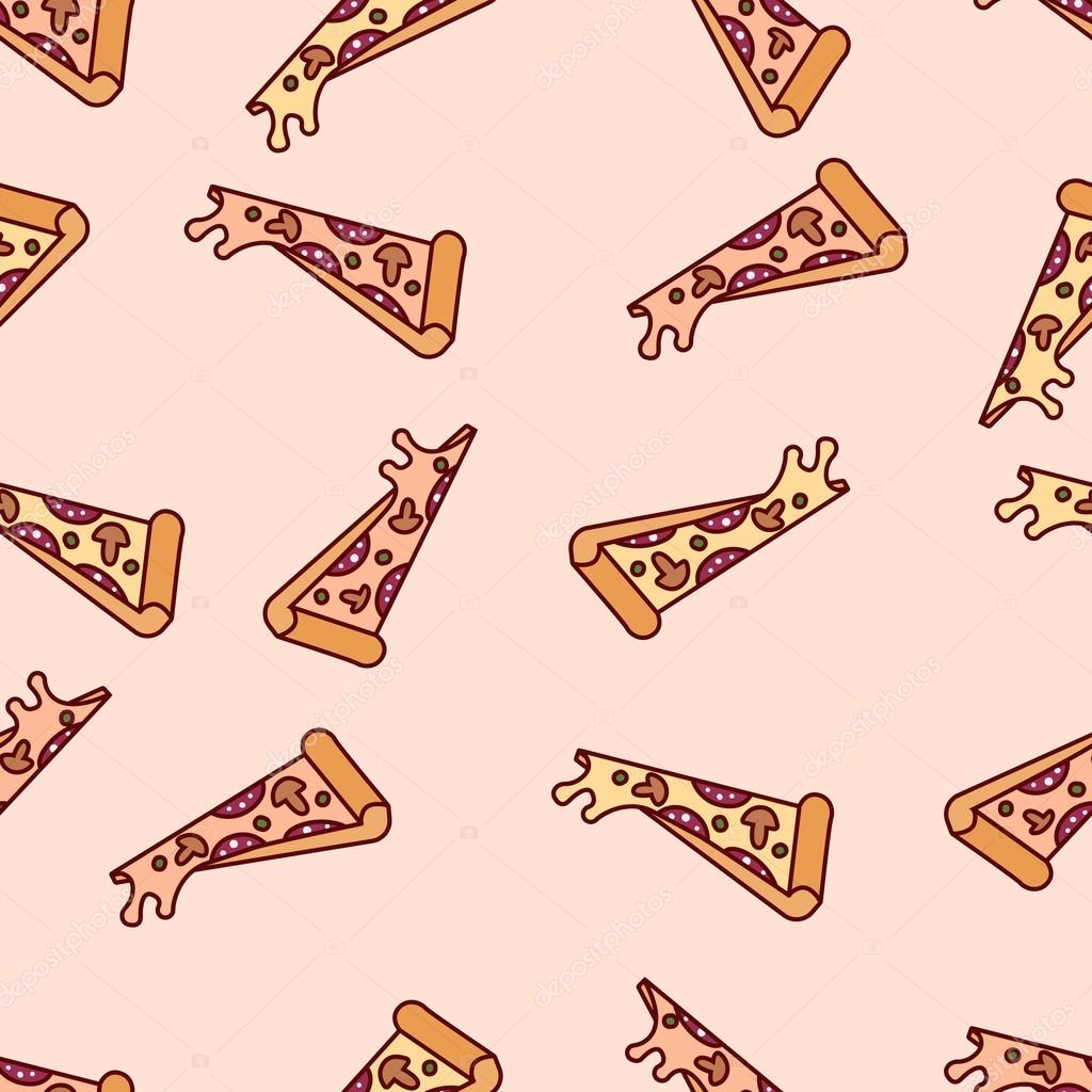1024x1024 Vector Slice Pizza Seamless Pattern. Cartoon Retro Pizza