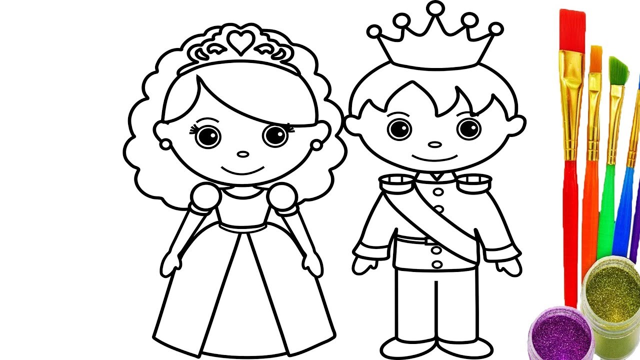 1280x720 How To Draw King And Queen Coloring Pages Kid Drawing Learn Color