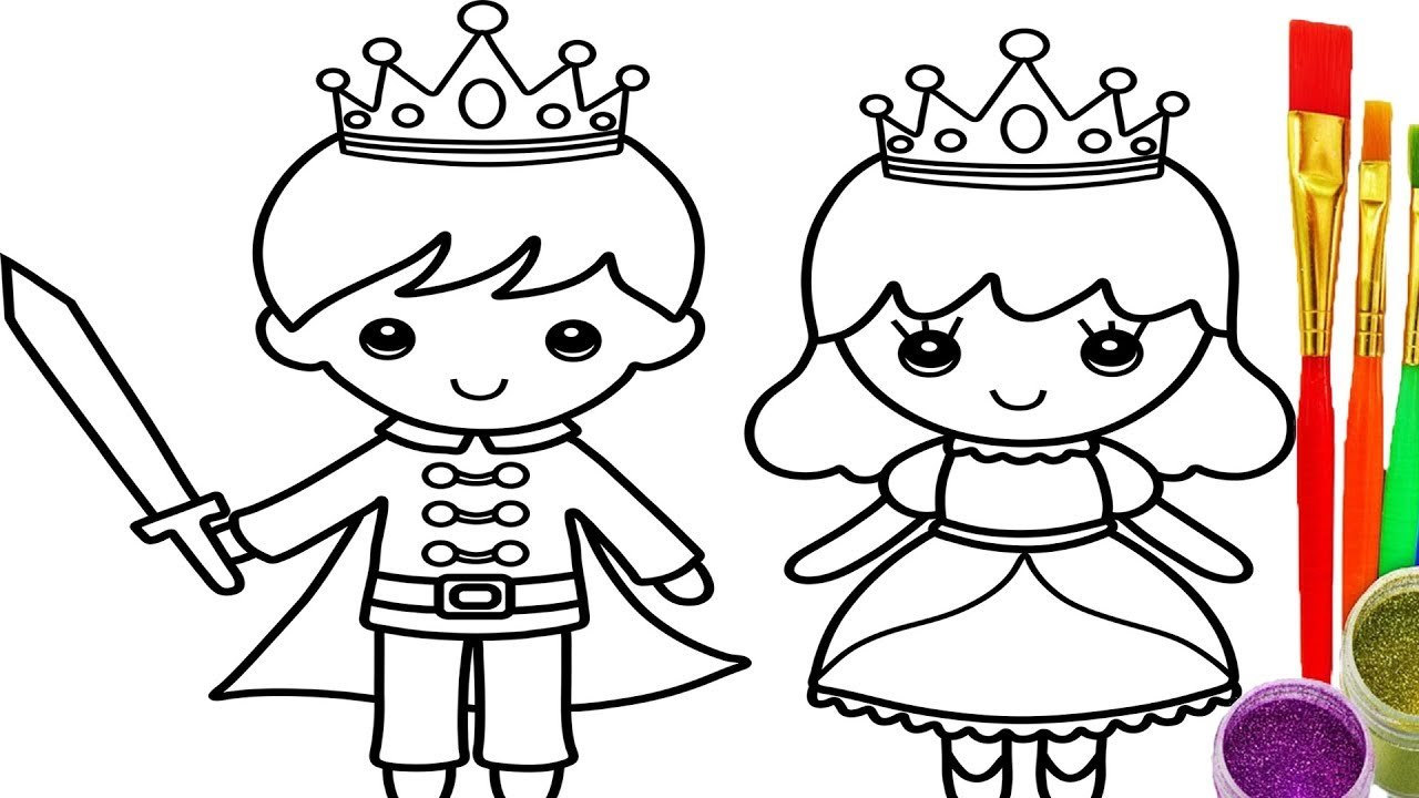 1280x720 How To Draw Little King And Queen Coloring Pages Drawing Learn