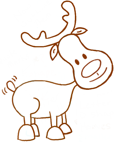 469x585 How To Draw A Cute Cartoon Reindeer For Christmas