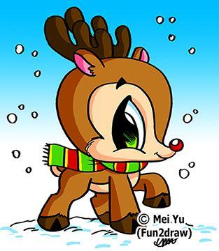 313x360 fun 2 draw - Christmas Reindeer 2