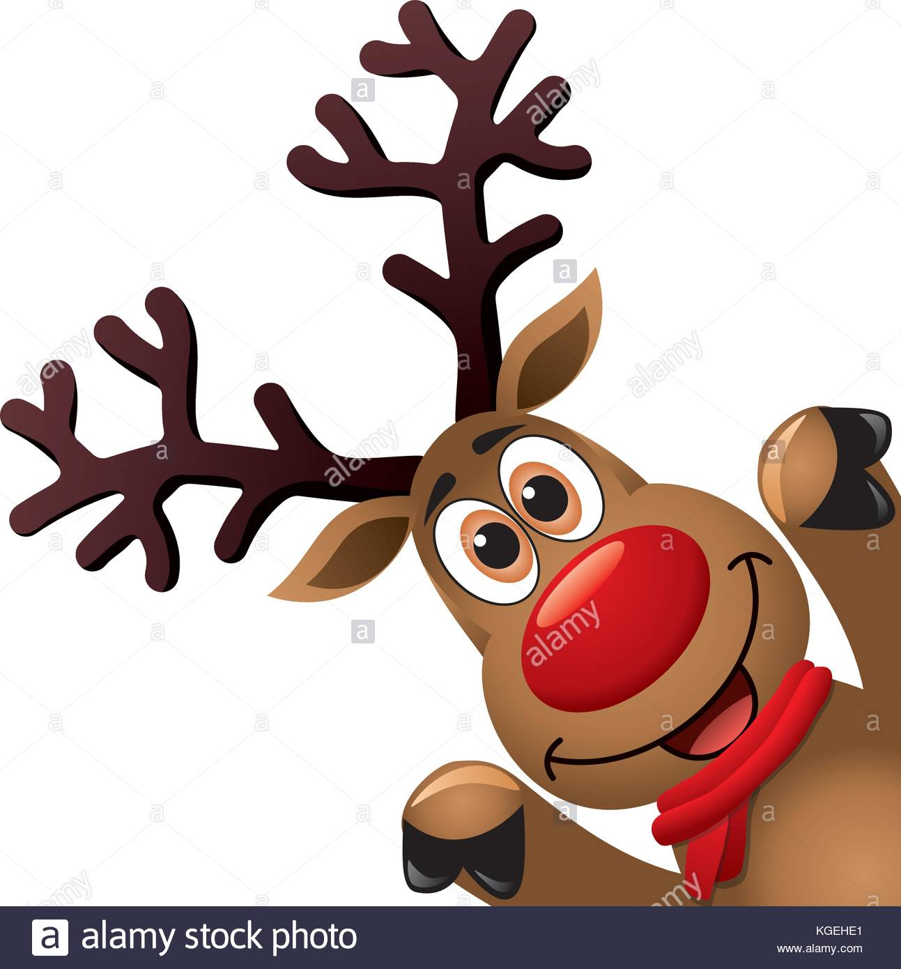 1293x1390 Vector Xmas Drawing Of Funny Red Nosed Reindeer. Christmas Card