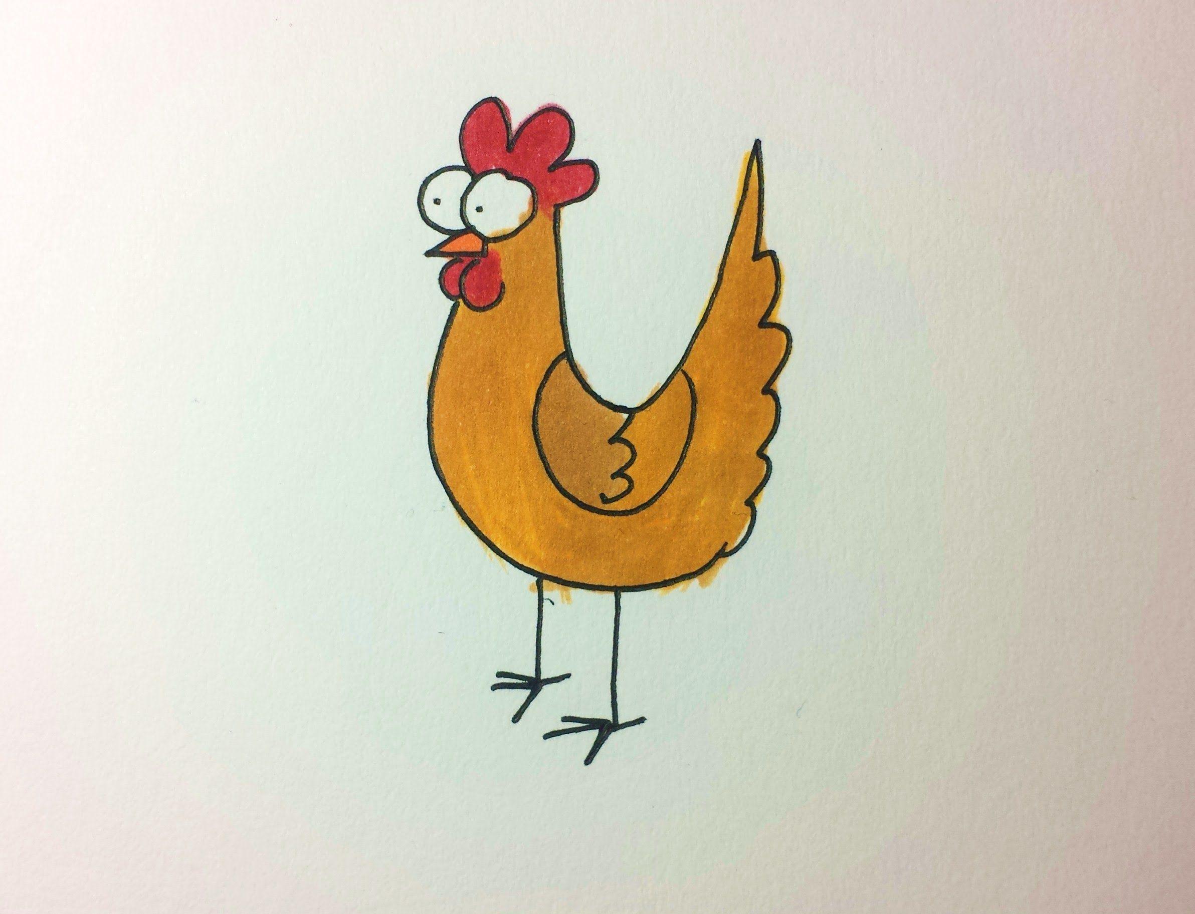 2384x1825 How To Draw A Cartoon Chicken Henrietta Chicken