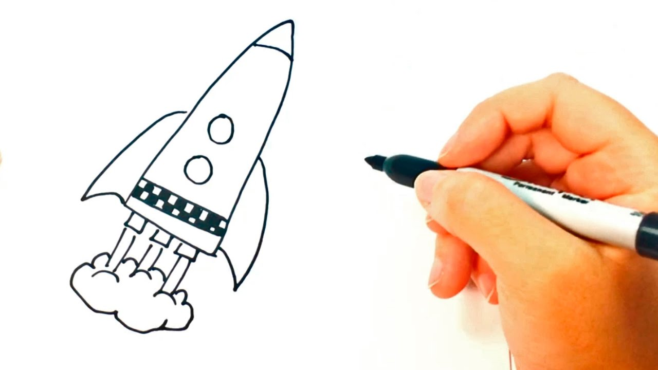 1280x720 How To Draw A Space Rocket Space Rocket Easy Draw Tutorial
