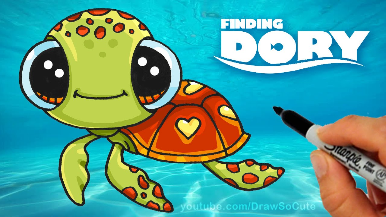 1280x720 How To Draw Squirt From Finding Dory Step By Step Cute Sea Turtle