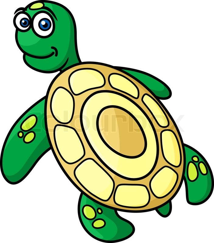 703x800 Rear View Of Cute Green Sea Turtle With Yellow Shell In Cartoon