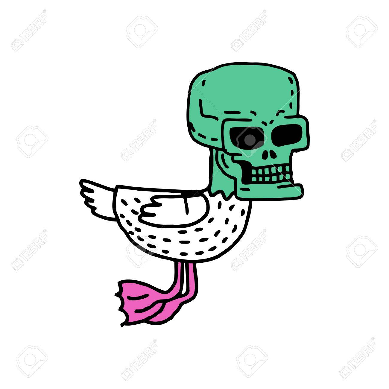 1300x1300 Dead Duck Drawing. Drake With Skull Cartoon Style Royalty Free