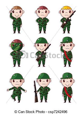340x470 Cartoon Soldier Icons Set Clip Art Vector
