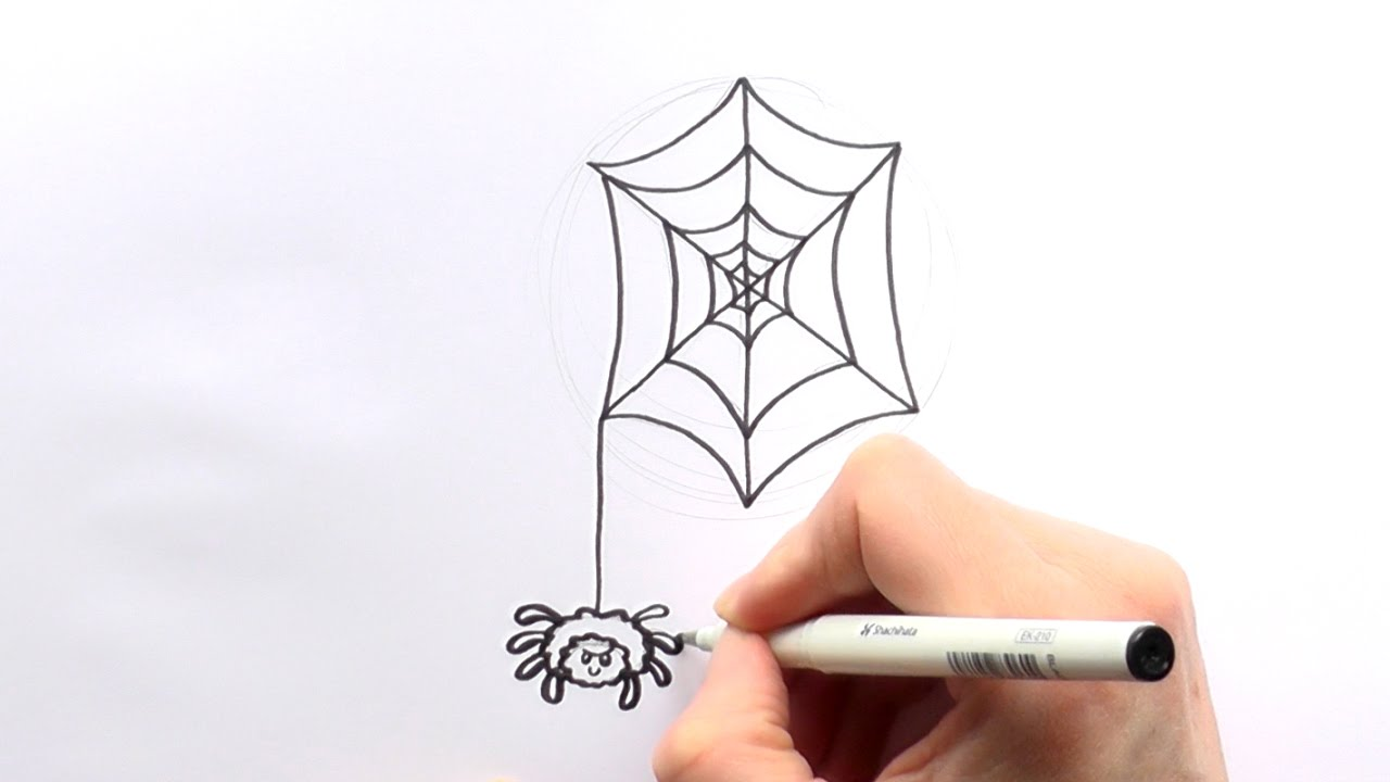 1280x720 How To Draw A Cartoon Spider Hanging From A Web