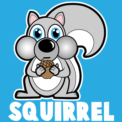 400x400 How Draw A Cartoon Squirrel Holding An Acorn With Simple