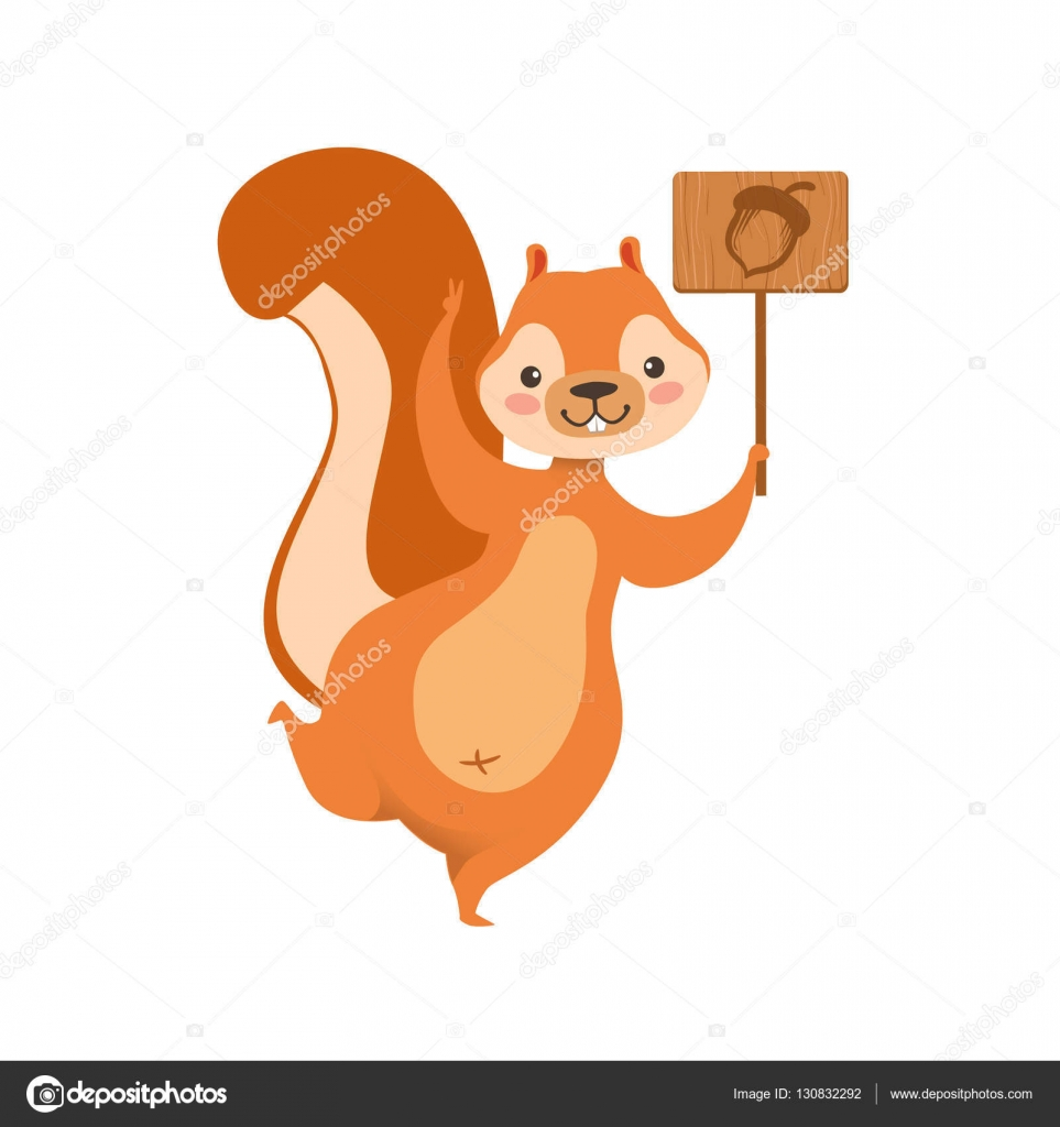 963x1024 Red Squirrel Holding Wooden Sign With Acorn Drawing Humanized