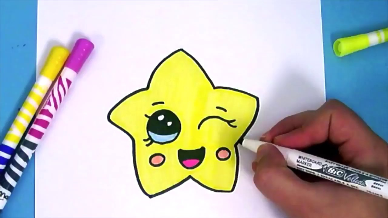 1280x720 How To Draw A Cute Cartoon Star Step By Step