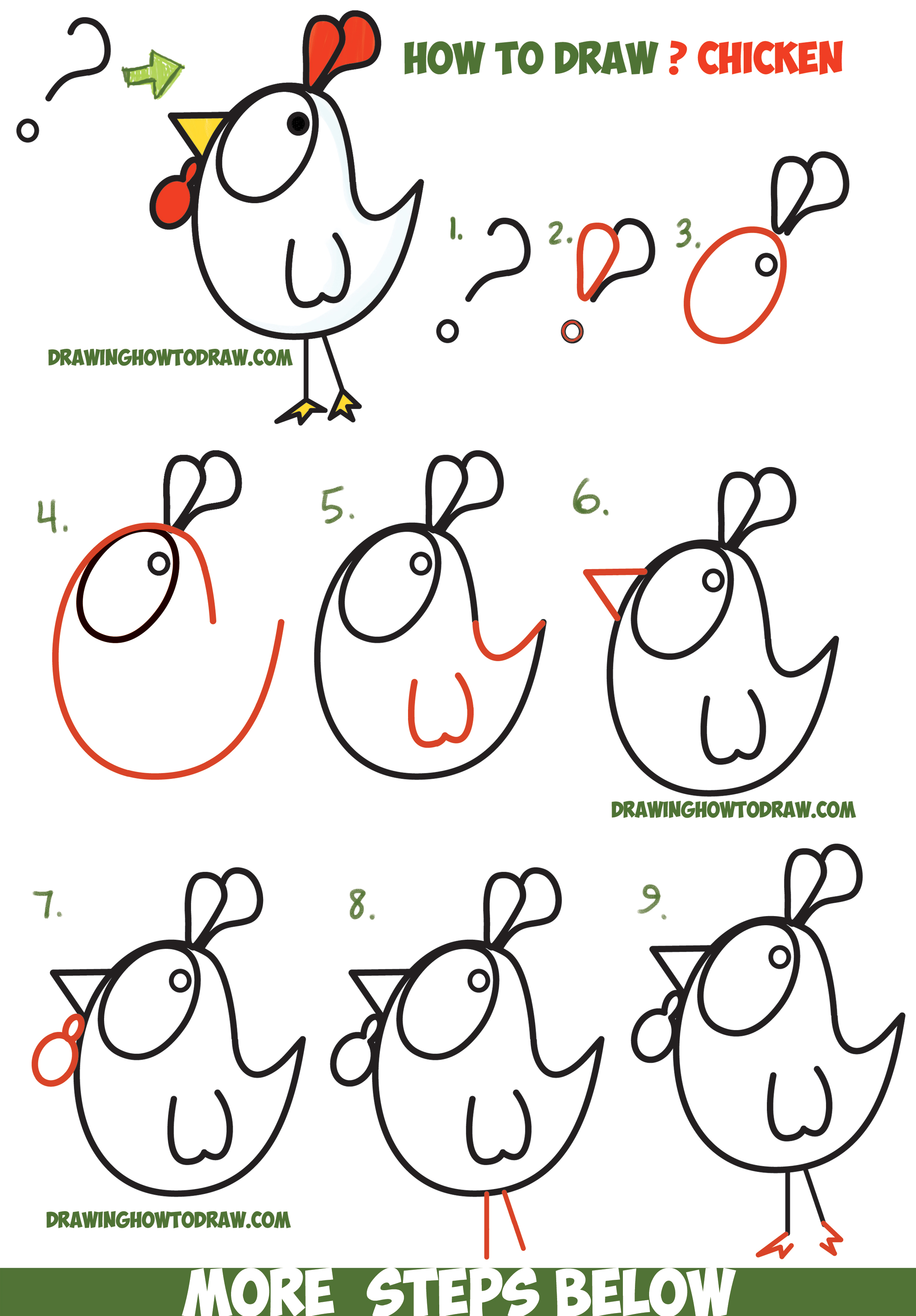 2200x3162 How To Draw A Cartoon Chicken Rooster From And ! Shapes