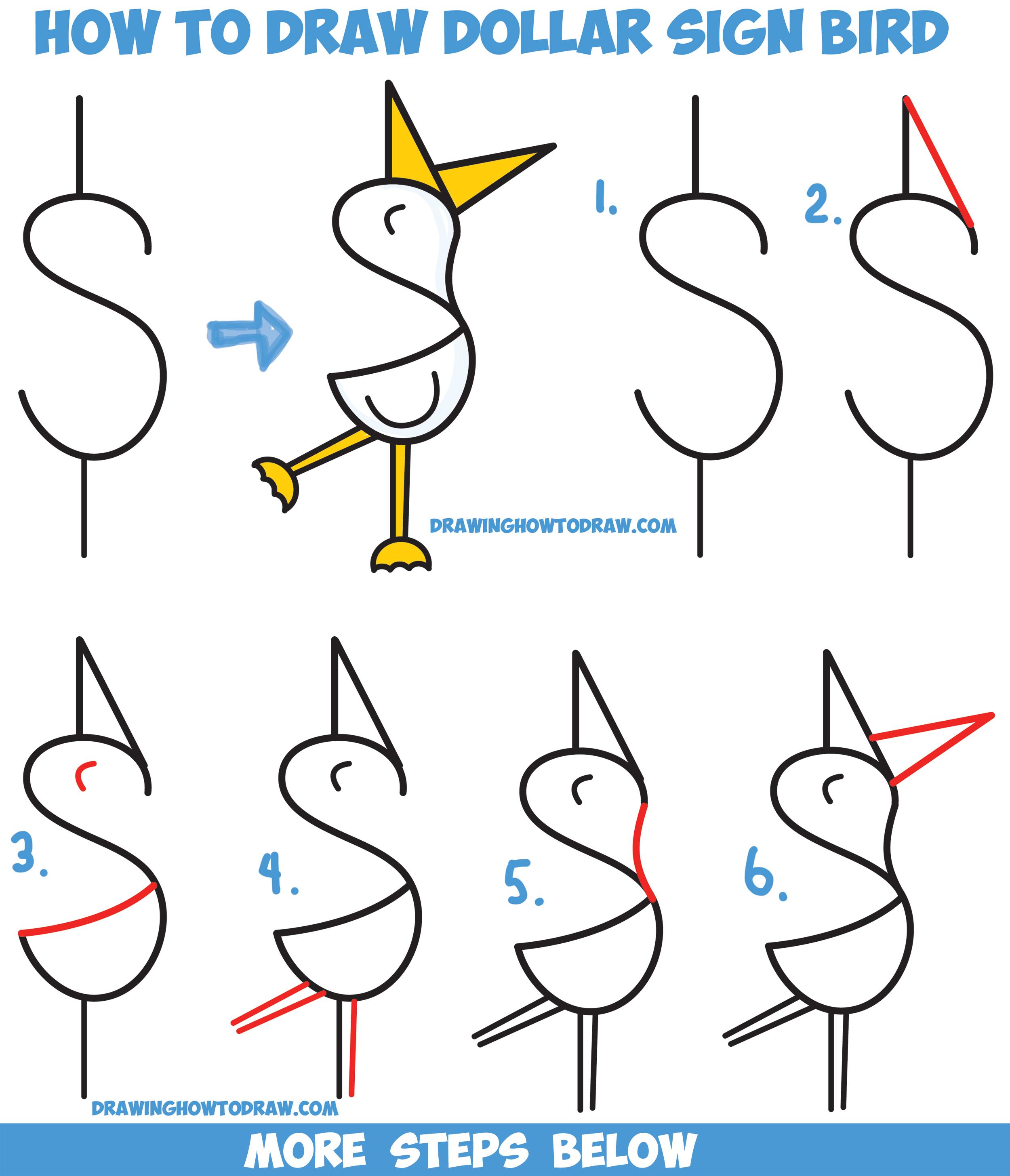 2500x2911 How To Draw A Cute Cartoon Bird Duck From A Dollar Sign