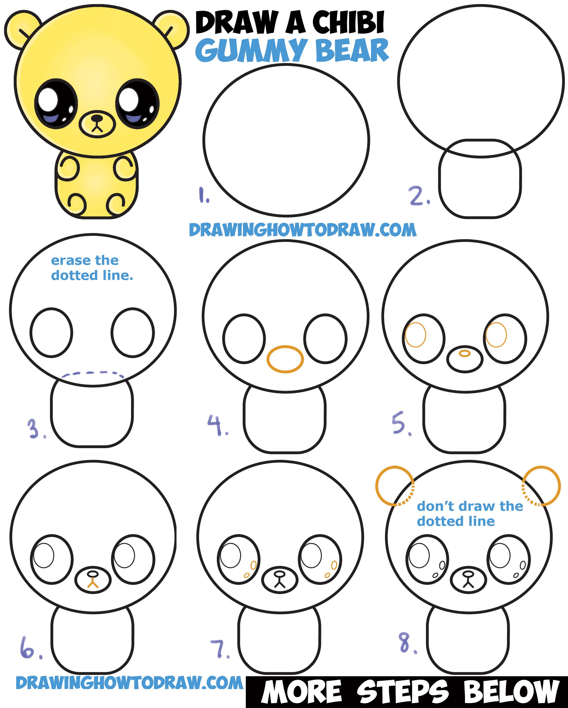 2300x2866 How To Draw A Cute Chibi Kawaii Cartoon Gummy Bear Easy Step
