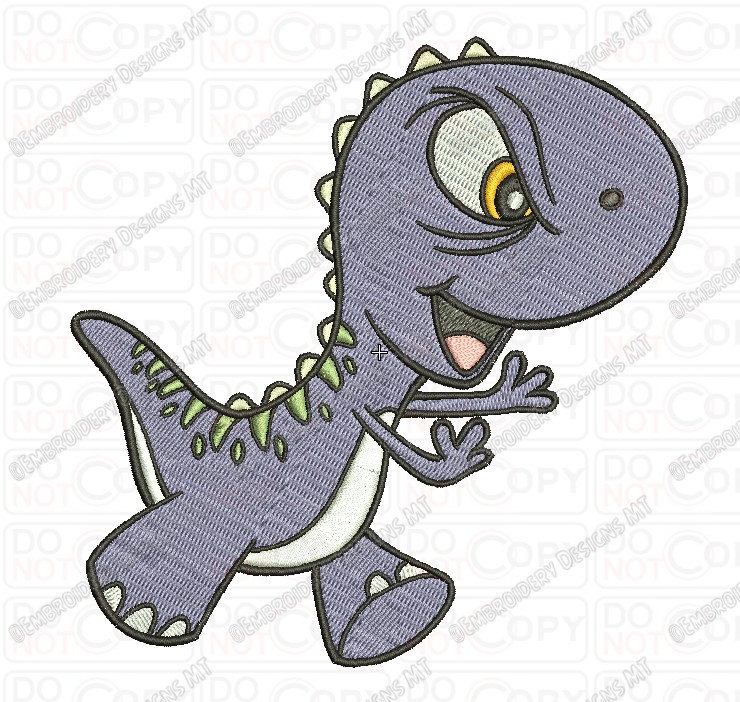 740x702 Angry Cartoon Baby T Rex Dinosaur Embroidery Design In 3x3 4x4