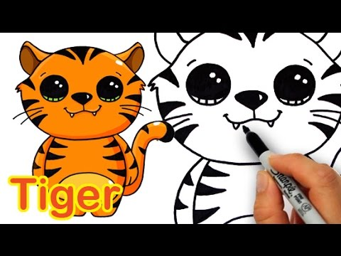 480x360 How To Draw A Cute Cartoon Tiger Easy