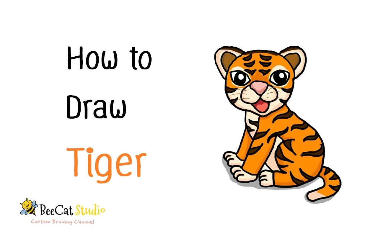 1280x800 How To Draw A Cute Cartoon Tiger
